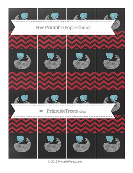 Free Lava Red Chevron Chalk Style Whale Paper Chains