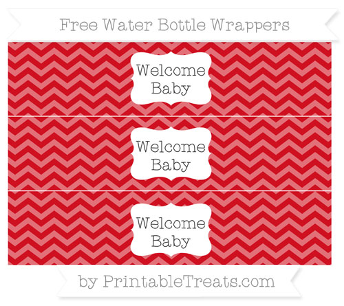 Free Lava Red Chevron Welcome Baby Water Bottle Wrappers