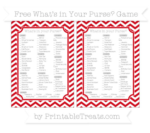 Free Lava Red Chevron What's in Your Purse Baby Shower Game