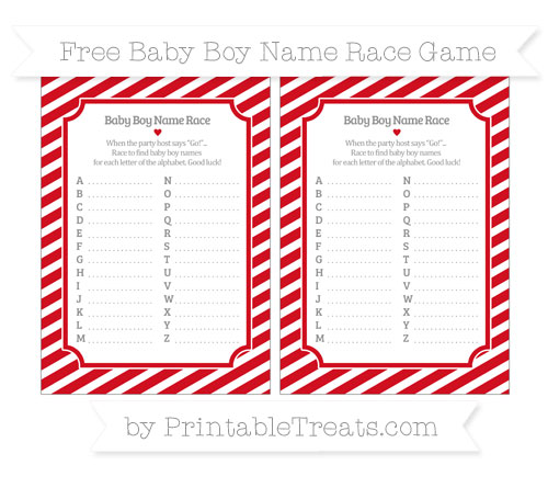 Free Lava Red Diagonal Striped Baby Boy Name Race Game