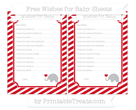 Free Lava Red Diagonal Striped Baby Elephant Wishes for Baby Sheets