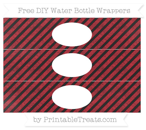 Free Lava Red Diagonal Striped Chalk Style DIY Water Bottle Wrappers