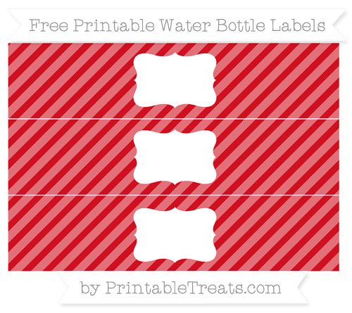 Free Lava Red Diagonal Striped Water Bottle Labels