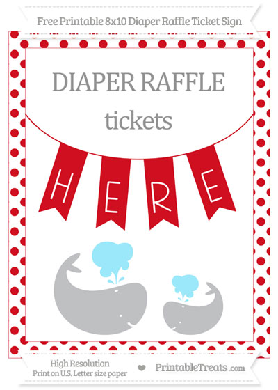 Free Lava Red Dotted Baby Whale 8x10 Diaper Raffle Ticket Sign