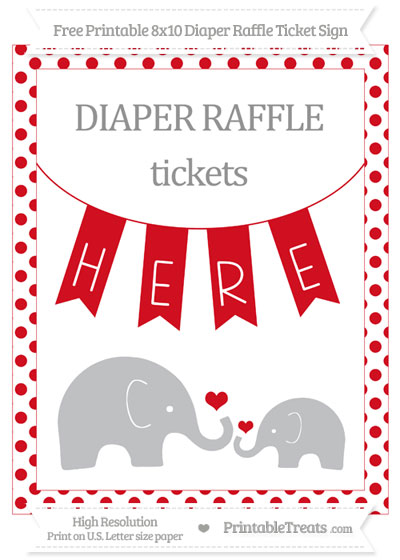Free Lava Red Dotted Elephant 8x10 Diaper Raffle Ticket Sign