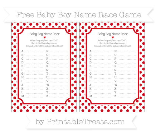 Free Lava Red Dotted Pattern Baby Boy Name Race Game