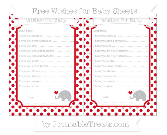 Free Lava Red Dotted Pattern Baby Elephant Wishes for Baby Sheets