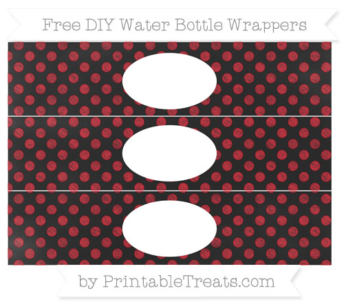 Free Lava Red Dotted Pattern Chalk Style DIY Water Bottle Wrappers