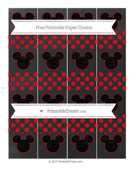 Free Lava Red Dotted Pattern Chalk Style Mickey Mouse Paper Chains