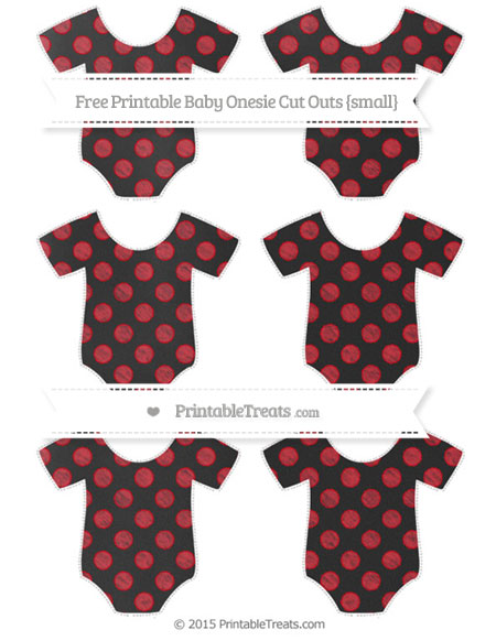 Free Lava Red Dotted Pattern Chalk Style Small Baby Onesie Cut Outs