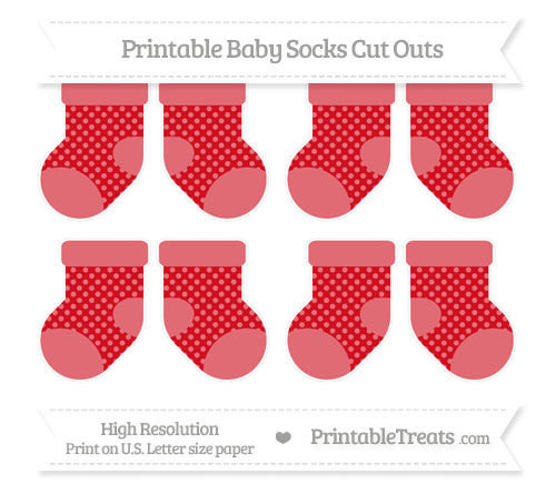 Free Lava Red Dotted Pattern Small Baby Socks Cut Outs