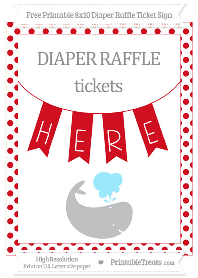 Free Lava Red Dotted Whale 8x10 Diaper Raffle Ticket Sign