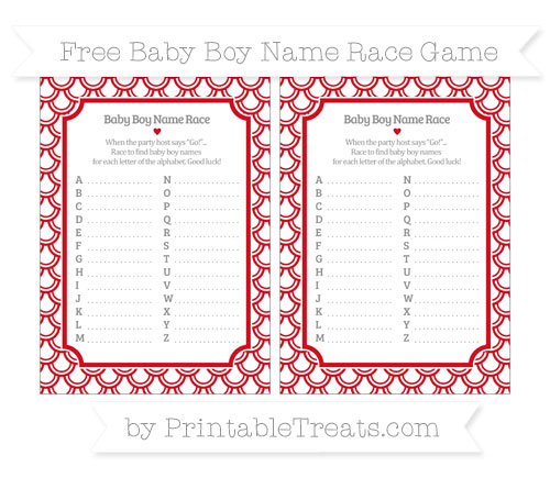 Free Lava Red Fish Scale Pattern Baby Boy Name Race Game