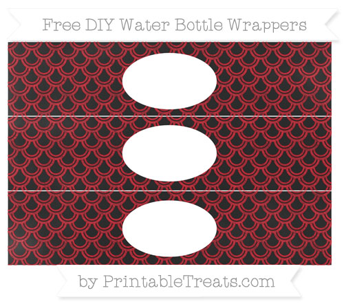 Free Lava Red Fish Scale Pattern Chalk Style DIY Water Bottle Wrappers