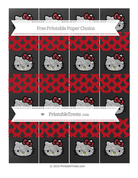 Free Lava Red Fish Scale Pattern Chalk Style Hello Kitty Paper Chains