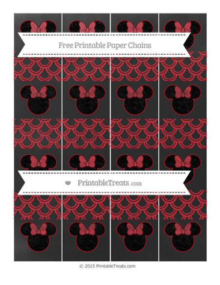 Free Lava Red Fish Scale Pattern Chalk Style Minnie Mouse Paper Chains
