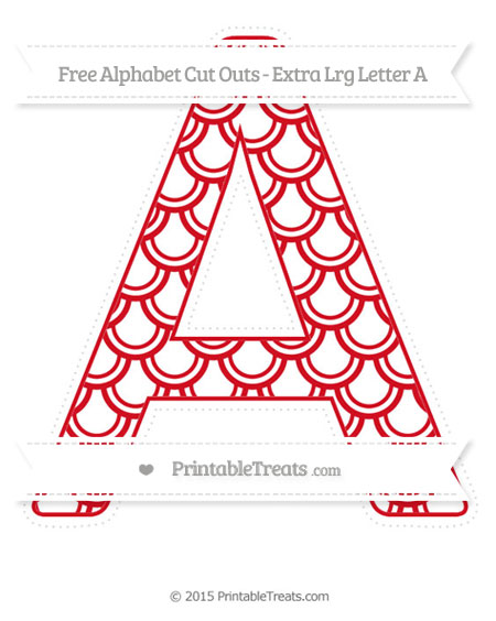 Free Lava Red Fish Scale Pattern Extra Large Capital Letter A Cut Outs