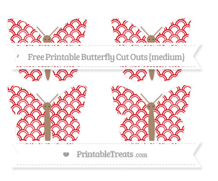 Free Lava Red Fish Scale Pattern Medium Butterfly Cut Outs