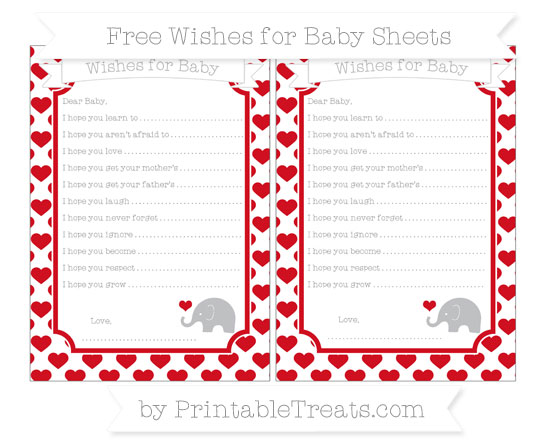 Free Lava Red Heart Pattern Baby Elephant Wishes for Baby Sheets