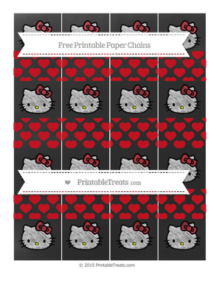 Free Lava Red Heart Pattern Chalk Style Hello Kitty Paper Chains