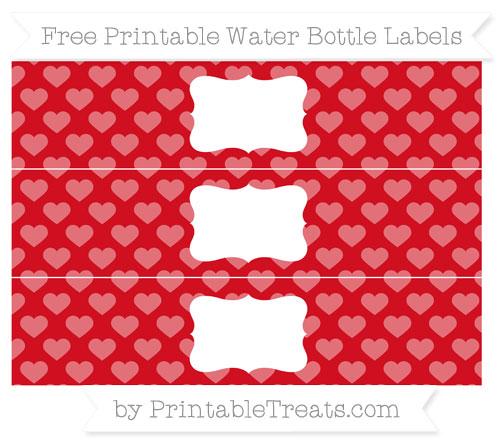 Free Lava Red Heart Pattern Water Bottle Labels