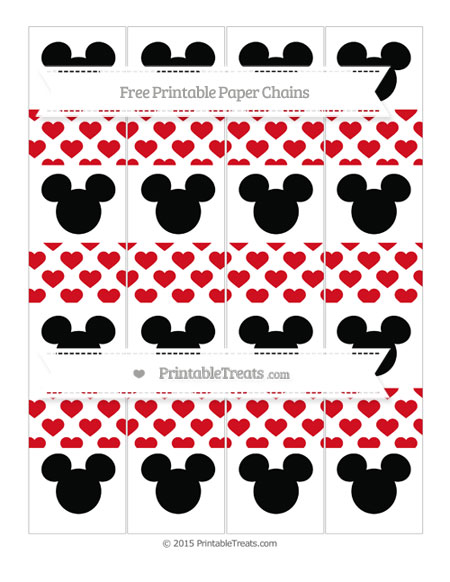 Free Lava Red Heart Pattern Mickey Mouse Paper Chains