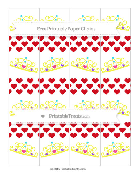 Free Lava Red Heart Pattern Princess Tiara Paper Chains