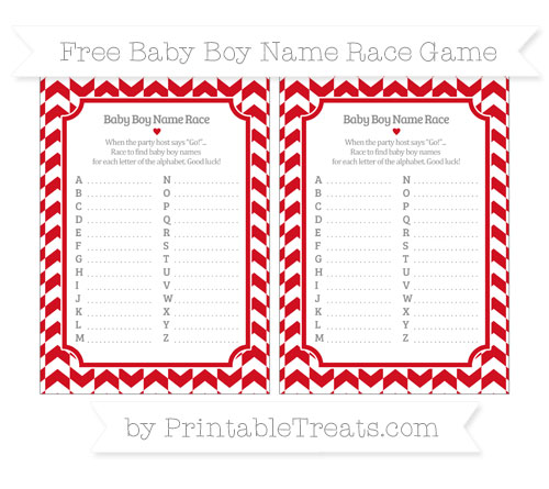 Free Lava Red Herringbone Pattern Baby Boy Name Race Game