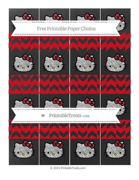 Free Lava Red Herringbone Pattern Chalk Style Hello Kitty Paper Chains