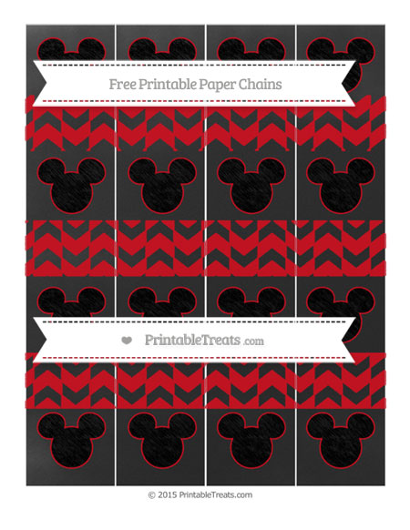 Free Lava Red Herringbone Pattern Chalk Style Mickey Mouse Paper Chains