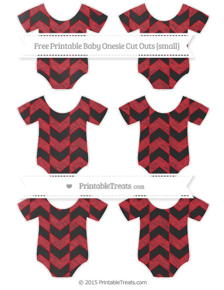 Free Lava Red Herringbone Pattern Chalk Style Small Baby Onesie Cut Outs