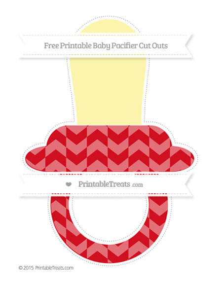 Free Lava Red Herringbone Pattern Extra Large Baby Pacifier Cut Outs