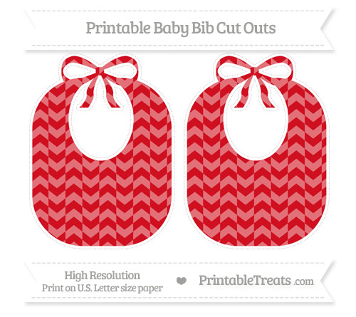 Free Lava Red Herringbone Pattern Large Baby Bib Cut Outs