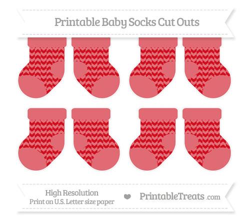 Free Lava Red Herringbone Pattern Small Baby Socks Cut Outs
