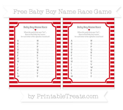 Free Lava Red Horizontal Striped Baby Boy Name Race Game