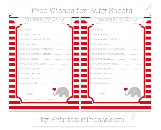 Free Lava Red Horizontal Striped Baby Elephant Wishes for Baby Sheets
