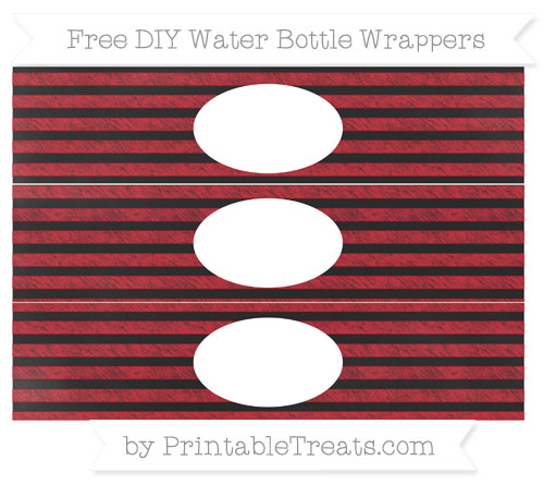 Free Lava Red Horizontal Striped Chalk Style DIY Water Bottle Wrappers