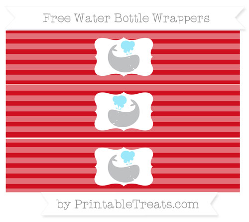 Free Lava Red Horizontal Striped Whale Water Bottle Wrappers