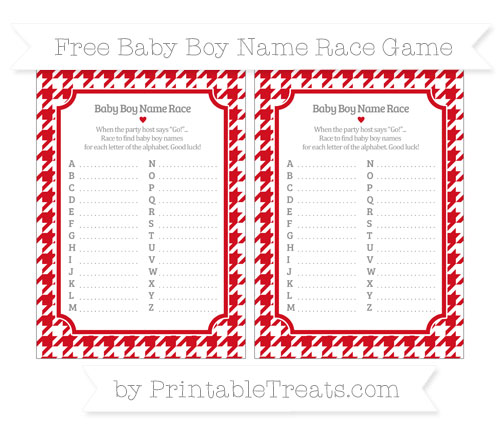 Free Lava Red Houndstooth Pattern Baby Boy Name Race Game