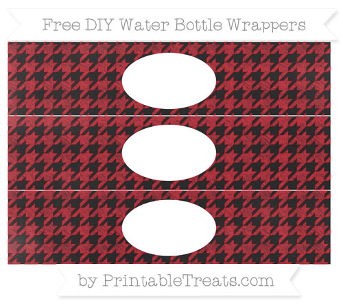 Free Lava Red Houndstooth Pattern Chalk Style DIY Water Bottle Wrappers