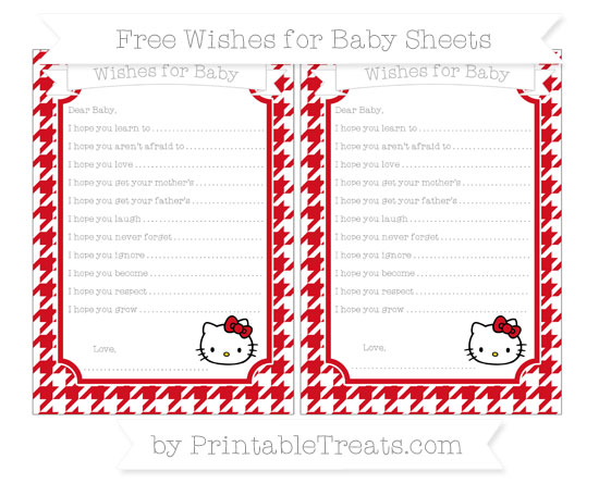 Free Lava Red Houndstooth Pattern Hello Kitty Wishes for Baby Sheets