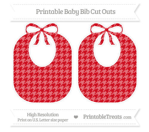 Free Lava Red Houndstooth Pattern Large Baby Bib Cut Outs