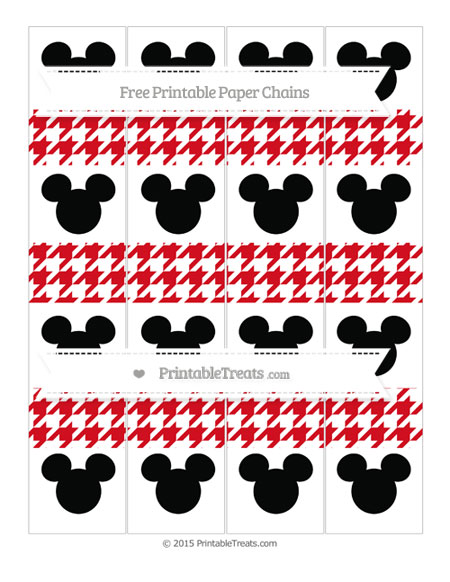 Free Lava Red Houndstooth Pattern Mickey Mouse Paper Chains