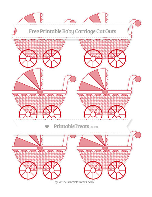 Free Lava Red Houndstooth Pattern Small Baby Carriage Cut Outs