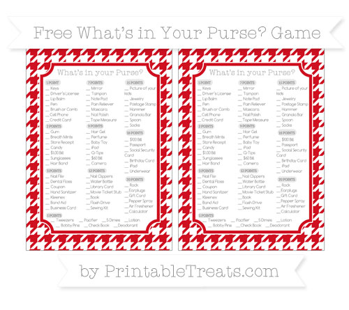 Free Lava Red Houndstooth Pattern What's in Your Purse Baby Shower Game