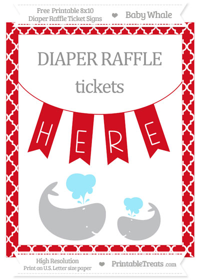 Free Lava Red Moroccan Tile Baby Whale 8x10 Diaper Raffle Ticket Sign