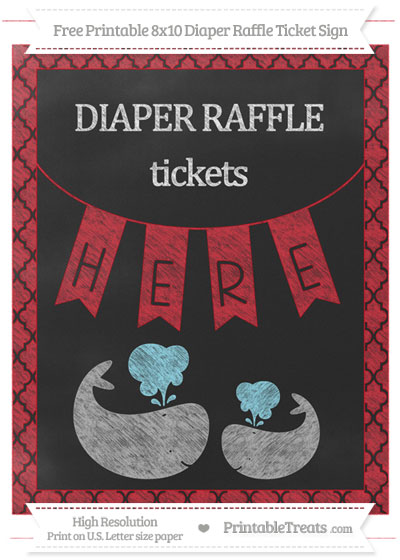 Free Lava Red Moroccan Tile Chalk Style Baby Whale 8x10 Diaper Raffle Ticket Sign