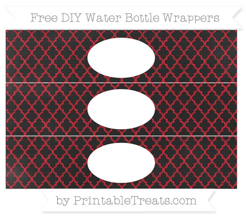 Free Lava Red Moroccan Tile Chalk Style DIY Water Bottle Wrappers