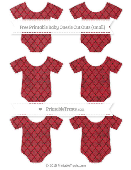 Free Lava Red Moroccan Tile Chalk Style Small Baby Onesie Cut Outs