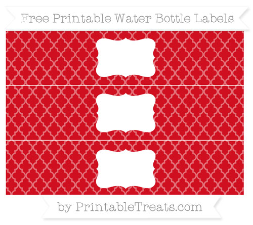 Free Lava Red Moroccan Tile Water Bottle Labels